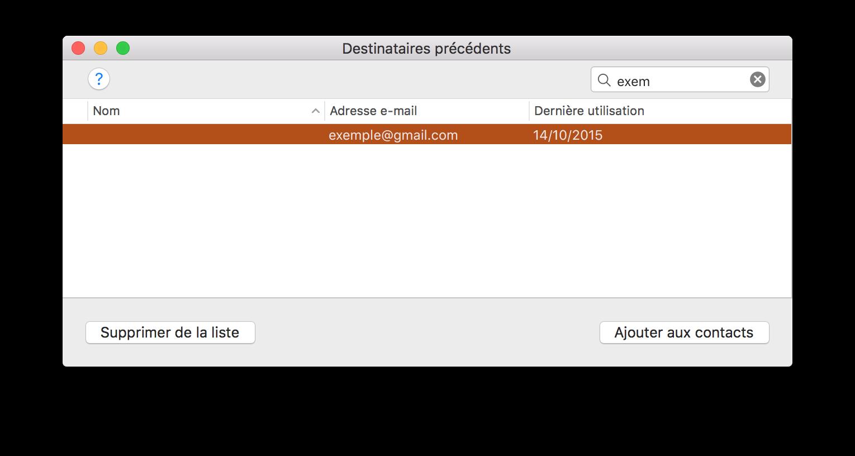 Apple Mail : supprimer les destinataires précédents